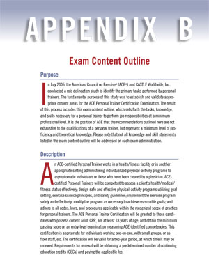 ACE personal trainer Exam Content Outline