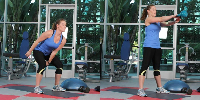 Alternating single-arm kettlebell swings