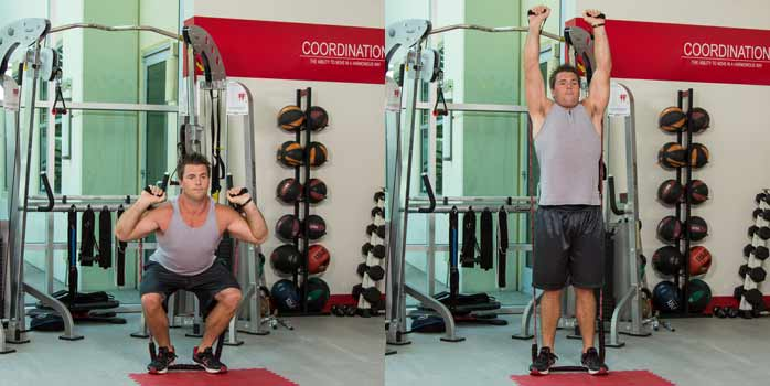 Tubing squat and overhead press