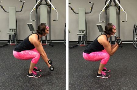 Biceps curl with isometric squat