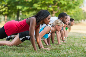 Push up sprint drill