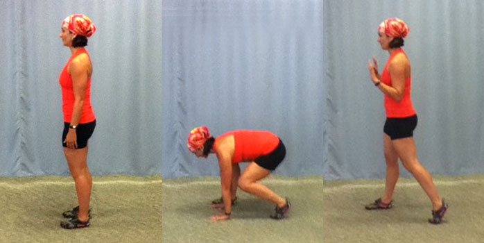 Off-set stance squat thrust