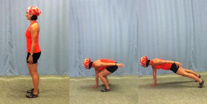 Single arm squat thrust