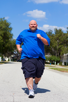 overweight man walking