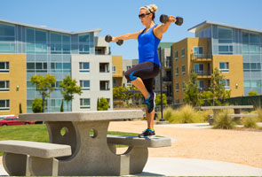 Step up with lateral raise